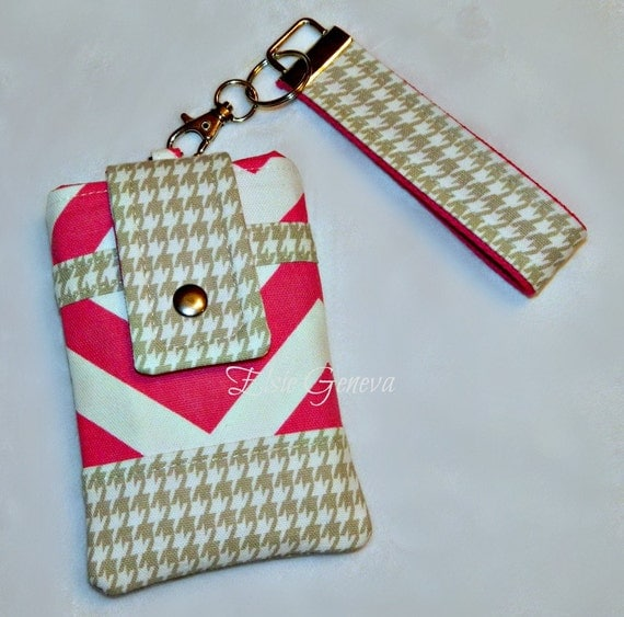 Chevron Phone Case with Wristlet - Optional Shoulder Strap - Hot Pink and Natural Hounds Tooth  - Navy Blue - Black - Brown Chevron Dots