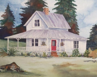 Watercolor print, old white farm house with red door