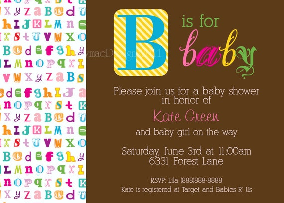 Baby Alphabet Baby Shower Invitation