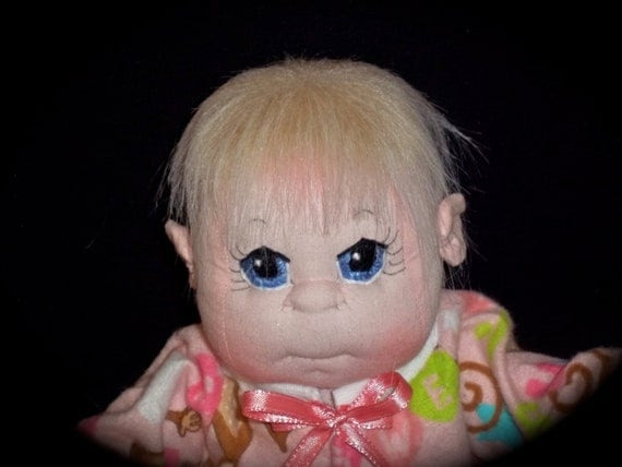 """Soft Sculptured Baby Doll, 12"""" Baby Doll with Flannel Monkey Sleeper"""