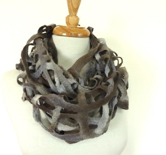 Chunky Wool Fashion Scarf - Unisex Neckwarmer - Gray Wool Scarf