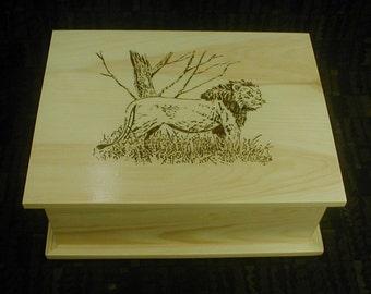 Lion Wood Burned Pine Keepsake Box Nature