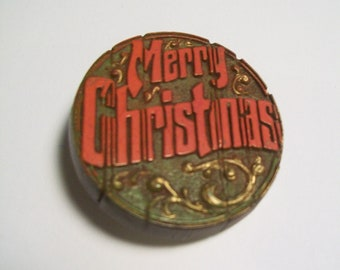 Vintage Merry Christmas Pin - 1970s