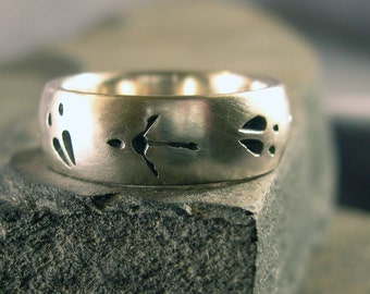 Deer Track, Turkey Track Wedding Band, Nature Ring, Comfort Fit, Sterling Silver