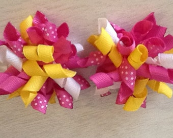 Corker Bow Hair Clip Set of Two Yellow and Pink Mix