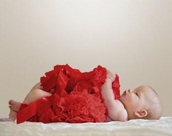 Red Newborn Pettiskirt with free headband with flower