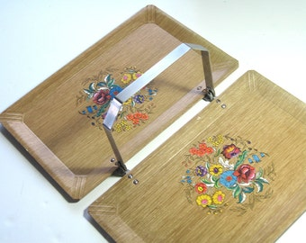 Hasko Folding Tray, Mid Century Serving Tray, Floral Tray, Haskelite Foldable Tray, Handled Tray, Hasko Caddy