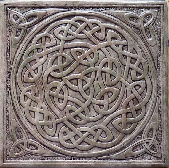 Handmade relief carved celtic knot ceramic tile