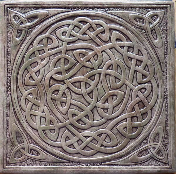 Handmade Relief Carved Celtic Knot Ceramic Tile