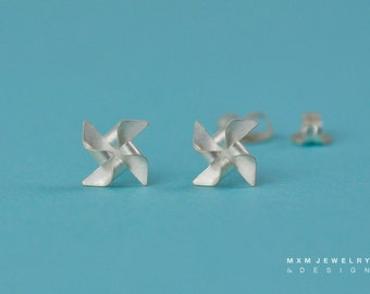 Handfolded Tiny Pinwheel / Windmill Earrings (No Ball in Center)