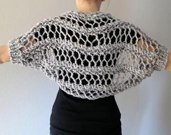 Wool Acrylic Yarn Light Gray Color Chunky Lace Knitted Shoulder Shrug Bolero Sleeves
