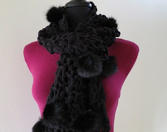 Black Pom-Poms Color Handknitted Chenille Scarf with Faux Fur Pom-Poms