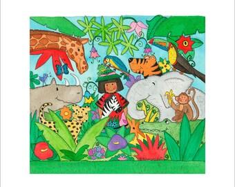 Jungle Giclee Print 6x6in