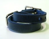 "Leather Dog Collar - 1/2"" Wide - Navy Blue"