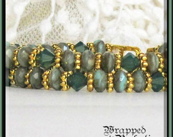 Seafoam Green & Gold Bracelet / Swarovski Crystals and Picasso Beads / Double Strand / Magnetic Clasp / OOAK SRAJD