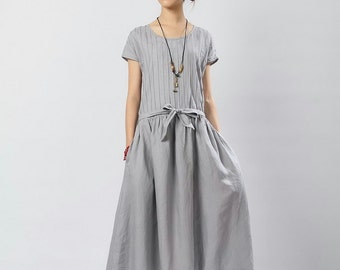 The Show Goes On-Grey linen long sundress(more colour and size choice)