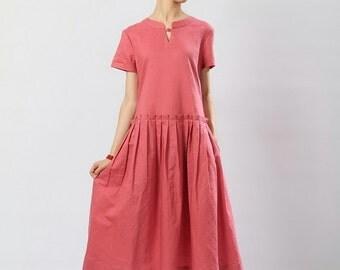Vneck linen pink color sundress(more colour and size choice)
