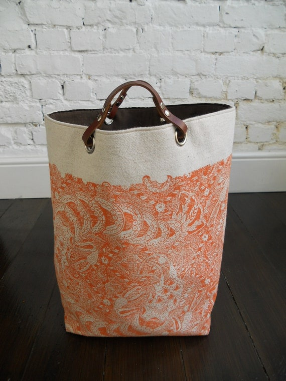 Large Hand block printed Linen tote  with leather handles  Languid Langoustine