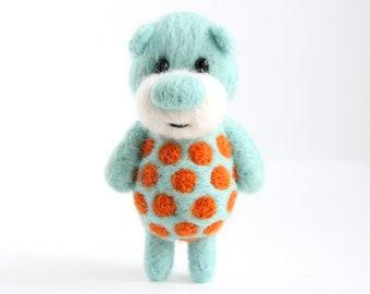 Sky blue pocket bear with bright orange polka dots