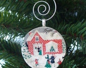 SALE Ornament, Home for the Holidays, Handmade Decoupaged, FREE SHIPPING