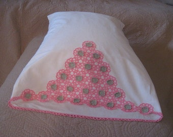 Vintage Bright White Pillowcase with Crochet Embellishment in Clear Bright Pink and very pale Green
