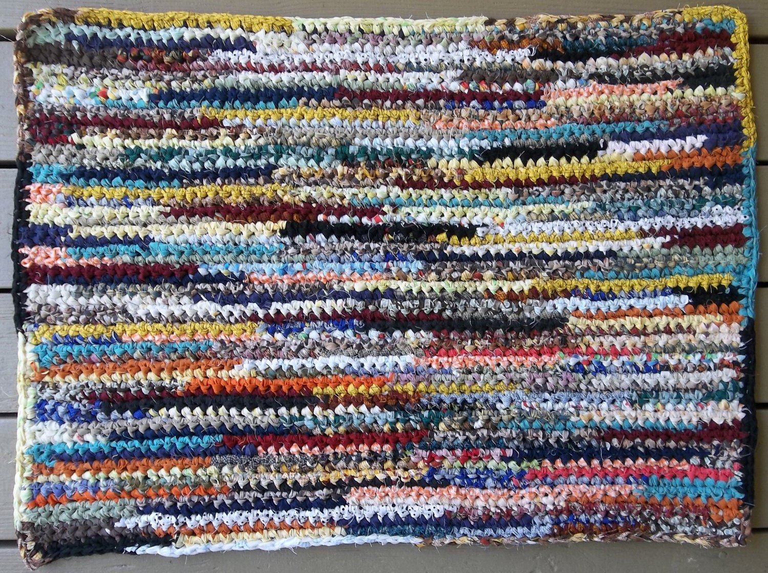 Crocheted Multi colored Rag Rug Rag rug by MountainMommaDesigns