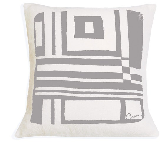 Decorative Pillow, Cushion, Abstract Geometric Design, 20x20, Silk Screened, Gray