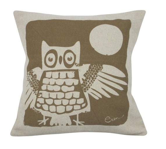 Decorative Pillow, Cushion, Brown, Owl, Recycled Oatmeal Fabric, 10x10, Silk Screened