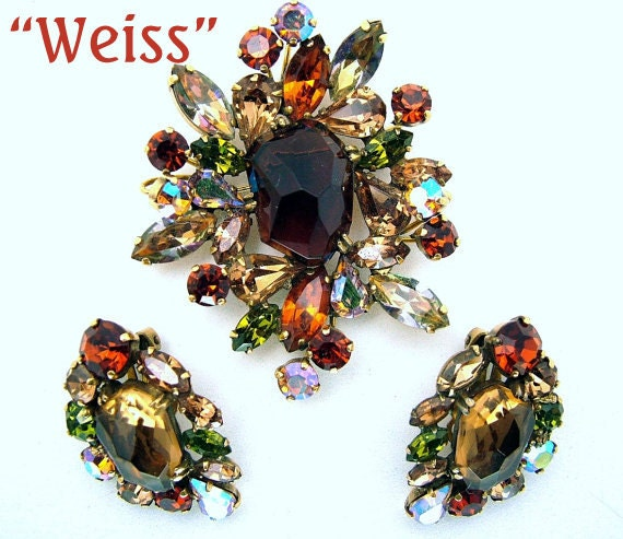 RESERVED ITEM Vintage Weiss Watermelon Brooch Earrings Topaz & Aurora Borealis Demi Parure