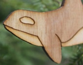 Laser etched wooden orca ornament