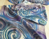 Spirals in blue hand painted silk scarf on crepe de chine FREE SHIPPING