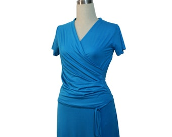Blue Wrap Dress Plus Size Wrap Dress Custom Wrap Dress Custom Plus Size Dress Day Wrap Dress Plus Size Clothing