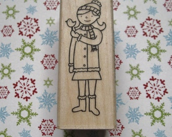 Winter Friends, Girl and Bird - A Muse Rubber Stamp