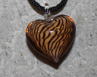 Lampwork Glass Heart Pendant and Necklace Exotic Pattern
