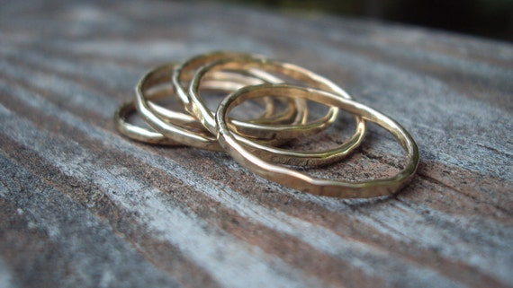 set of 5 rings - 16g stacking, 14kt gold filled, Etsy jewelry , any size, even half and quarter
