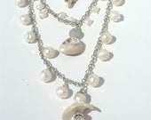 Sea Shell and Pearl Multi Strand Statement Necklace