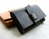 Handmade Leather card holder with D-ring- made to order