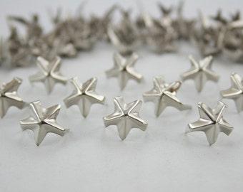 100 pcs.Silver Tone Star Studs Punk Rock Decorations Findings 12 mm. KSSTN12