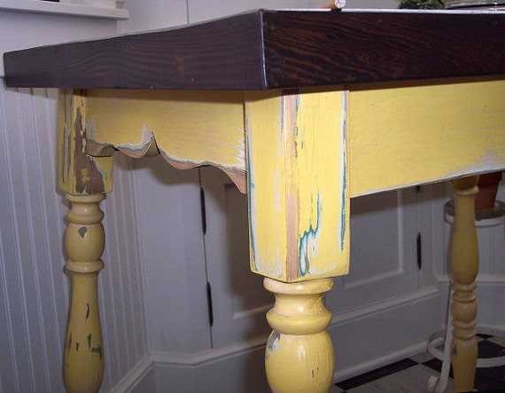 vintage kitchen table shabby yellow with wood top 33 x