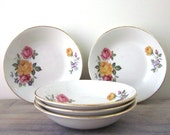 Vintage English China Berry Bowls with Floral Design Set of Five
