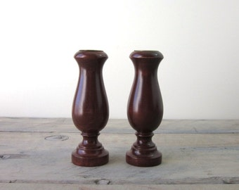 Wooden Maple Candlesticks with Brass Inserts