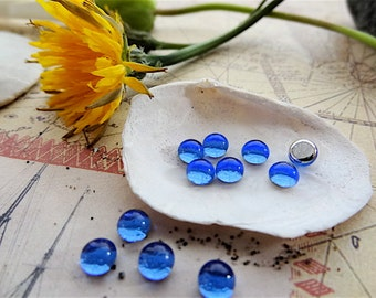 Blue Glass Cabochons. 5mm Silver Foil. Round Vintage Glass Flat Back Jewels.