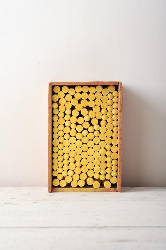 Vintage Wooden Chalk Box Full of Yellow Chalk - Back to School Atlantic Sight Saver - Binny & Smith - One Gross