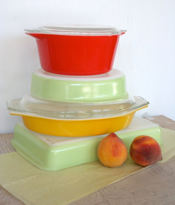 Instant collection of Pyrex in solid colors. Casseroles, pie pan, lasagna pan, chartreuse, yellow, red.