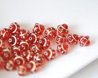 20pcs Red Gold Czech Glass Saturn Beads- CZ011
