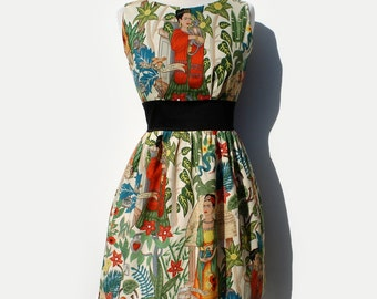 Custom Made Plus Size 3XL-4XL Mustache Dress Dress / Rockabiily Pinup Dress /  Your Measurements and you choose the Fabric