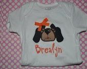 Monogrammed Embroidered Applique Boy or Girl Hound Dog UT Shirt or Onesie You design