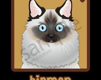 Birman Cat Cartoon Heart T-Shirt Tee - Men's, Women's Ladies, Short, Long Sleeve, Youth Kids