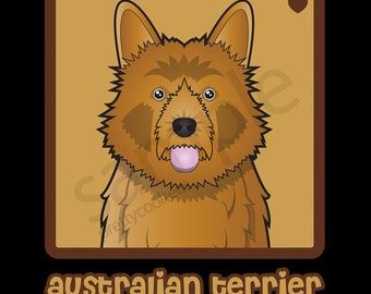 Australian Terrier Cartoon Heart T-Shirt Tee - Men's, Women's Ladies, Short, Long Sleeve, Youth Kids