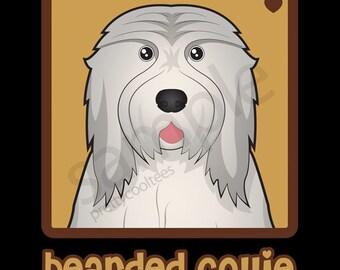Bearded Collie Cartoon Heart T-Shirt Tee - Men's, Women's Ladies, Short, Long Sleeve, Youth Kids